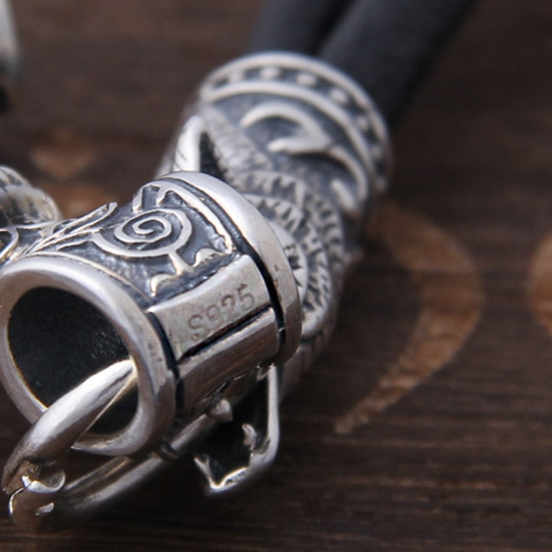 Wolf and Mjölnir Necklace - Sterling Silver