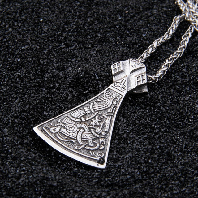 Viking Axe Pendant  Hand forged Stainless Steel Norse Axe Head pendant