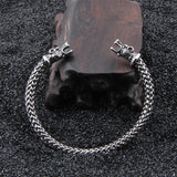 Wolf Head Meshed Torc Bracelet - Stainless Steel