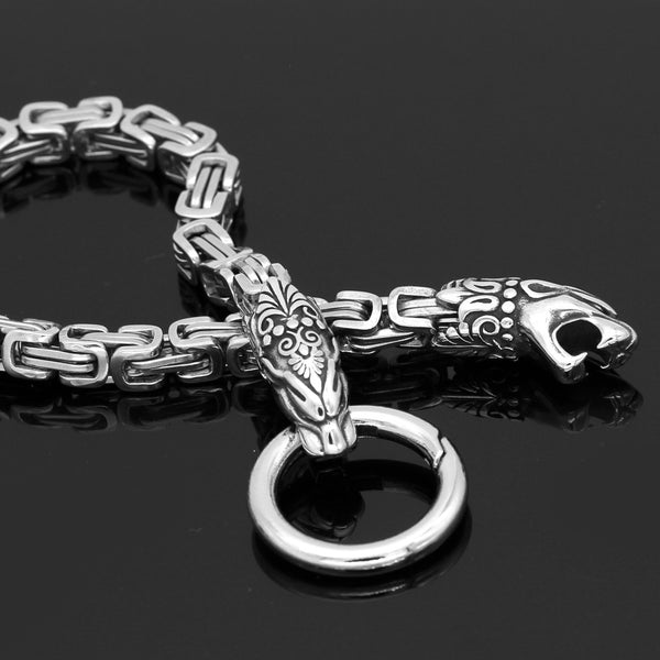 Animal Bite Ring Heavy Chain with Mjölnir - Stainless Steel
