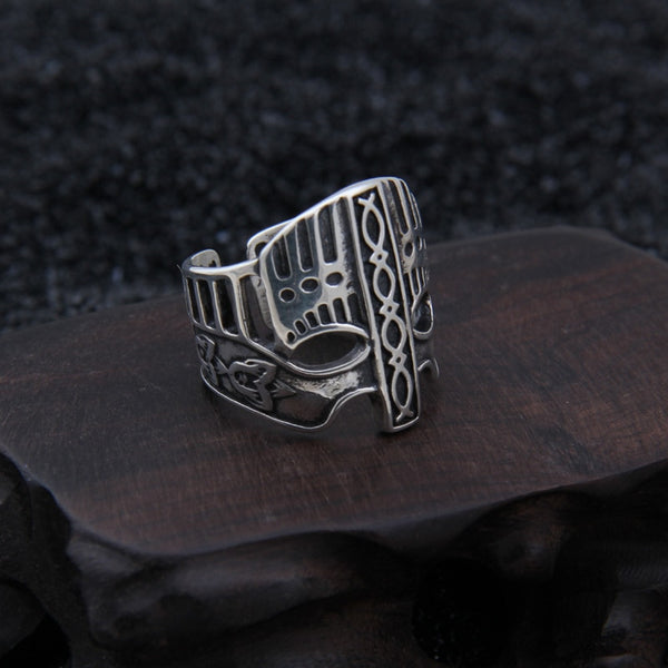 Viking Helm Adjustable Ring - Sterling Silver