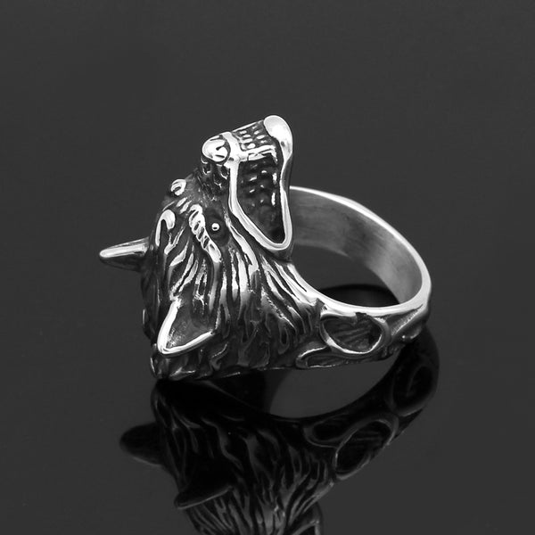 Odin's Wolf Head Ring - Stainless Steel