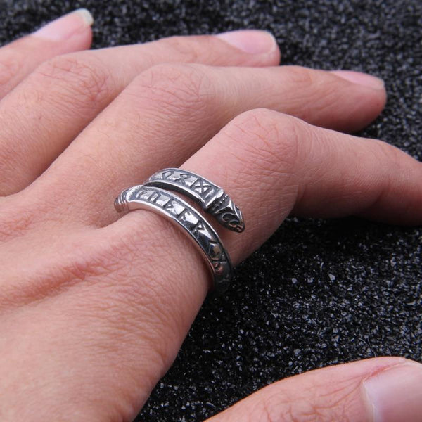 Runic Band Ring - Sterling Silver