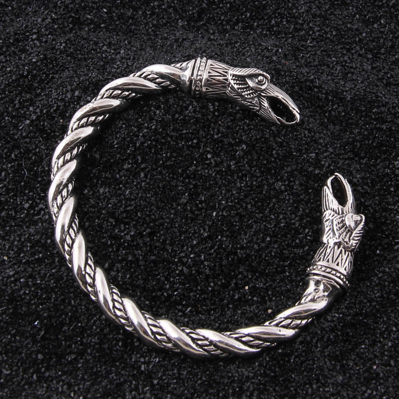 Hugin and Munin Raven Torc Bracelet - Sterling Silver