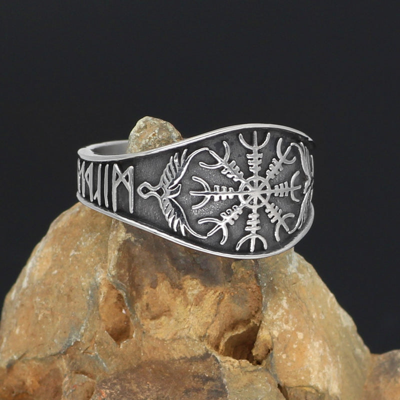 Helm of Awe Runic Ring - Stainless Steel