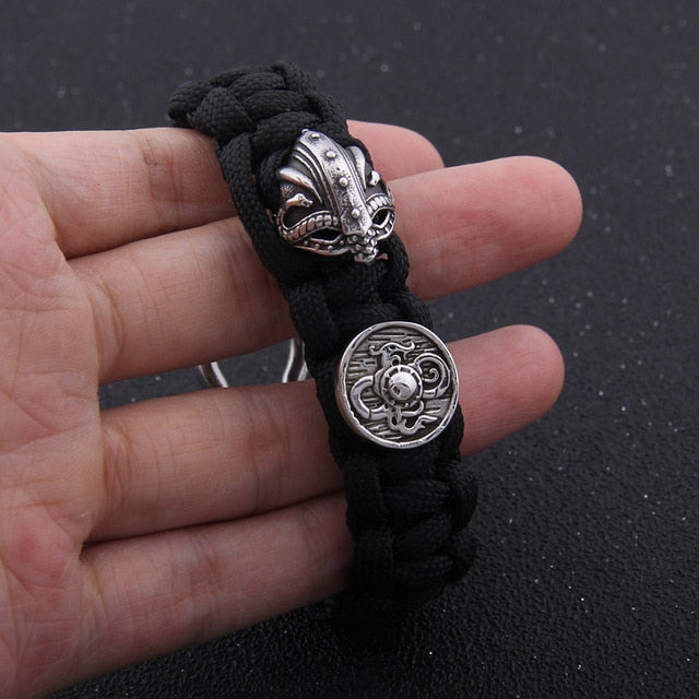 Shield & Helm Cloth Bracelet - Stainless Steel