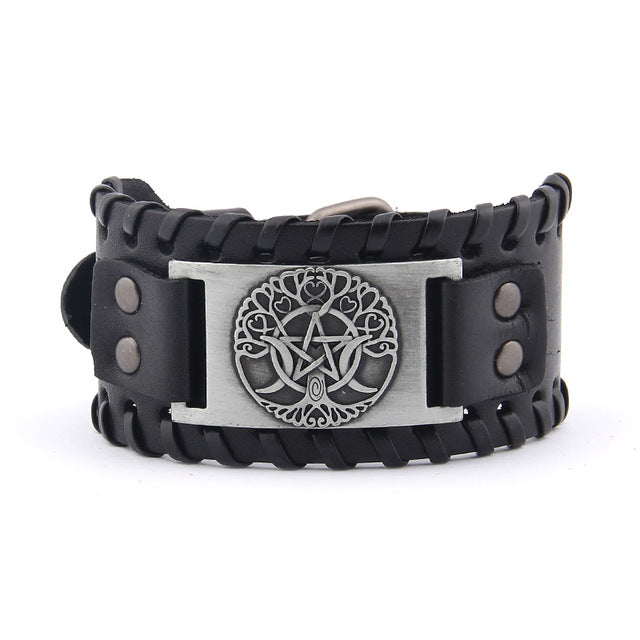 Wiccan Yggdrasil Leather Wrap Bracelet