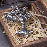 Ornamental Mjölnir with Wolf Heads - Stainless Steel