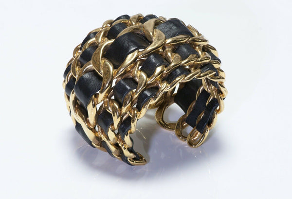 Chanel Leather Chain Cuff Bracelet