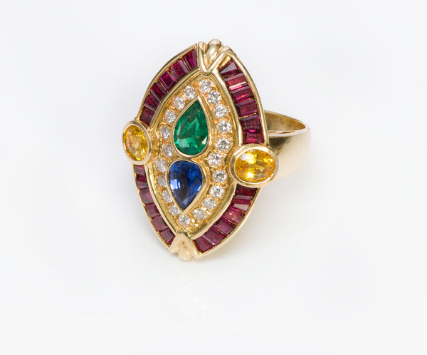 Ruby Emerald Diamond Ring Marquise