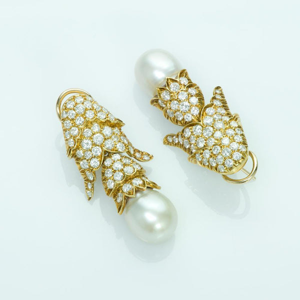 Pearl Diamond Gold Pearl Earrings