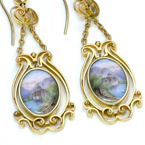 antique-swiss-enamel-yellow-gold-earrings