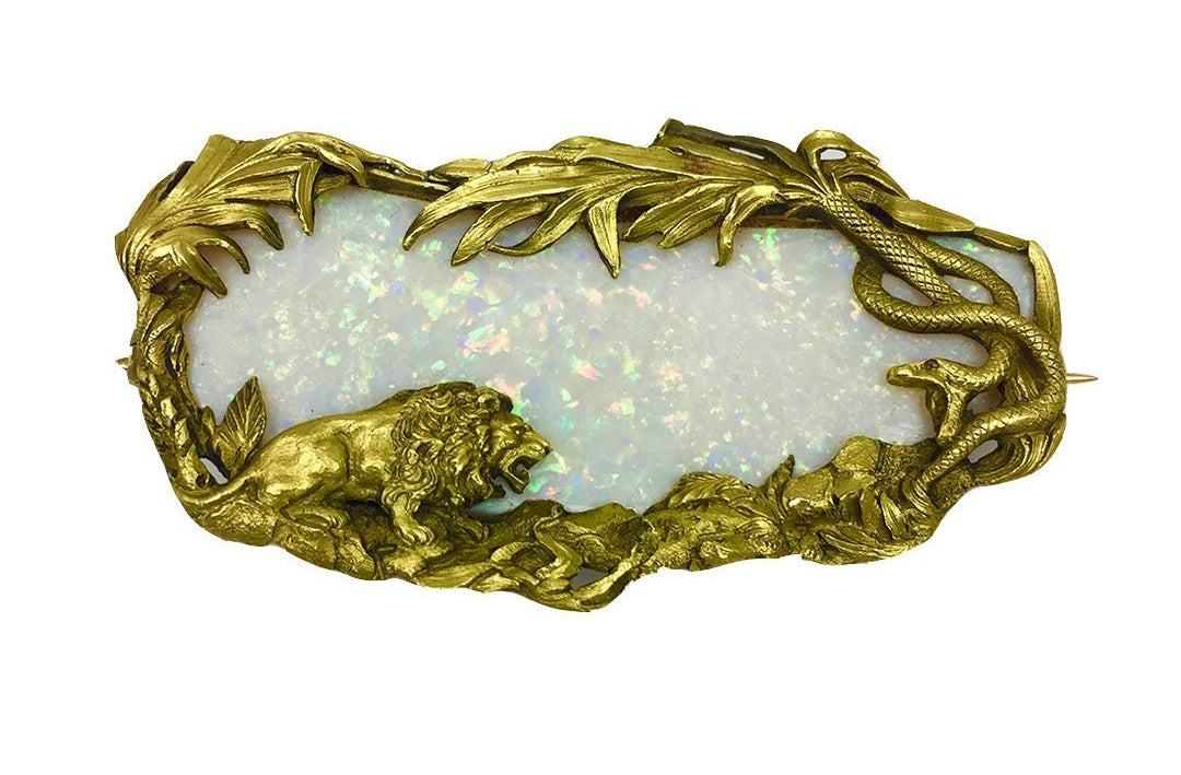 Antique Opal Gold Brooch