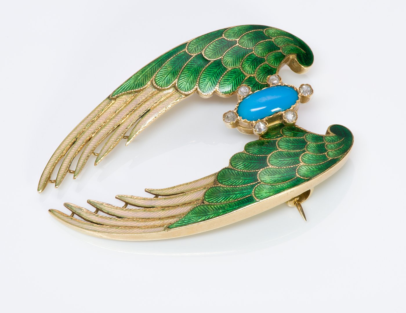 antique-gold-enamel-turquoise-diamond-wings-brooch-pin