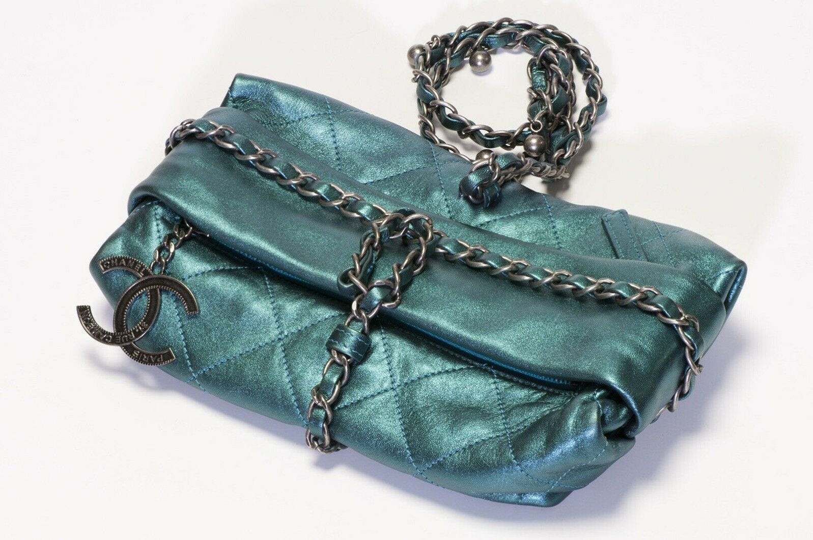 chanel-2012-turquoise-green-quilted-leather-cc-wrap-chain-bag