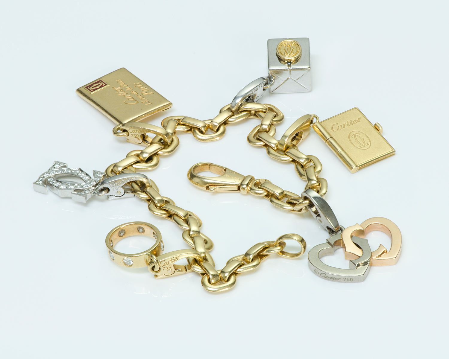 cartier gold diamond bracelet charm