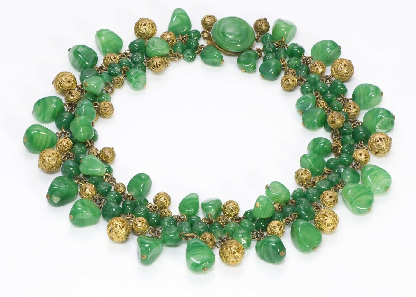 louis-rousselet green-glass-brass-filigree-collar-necklace