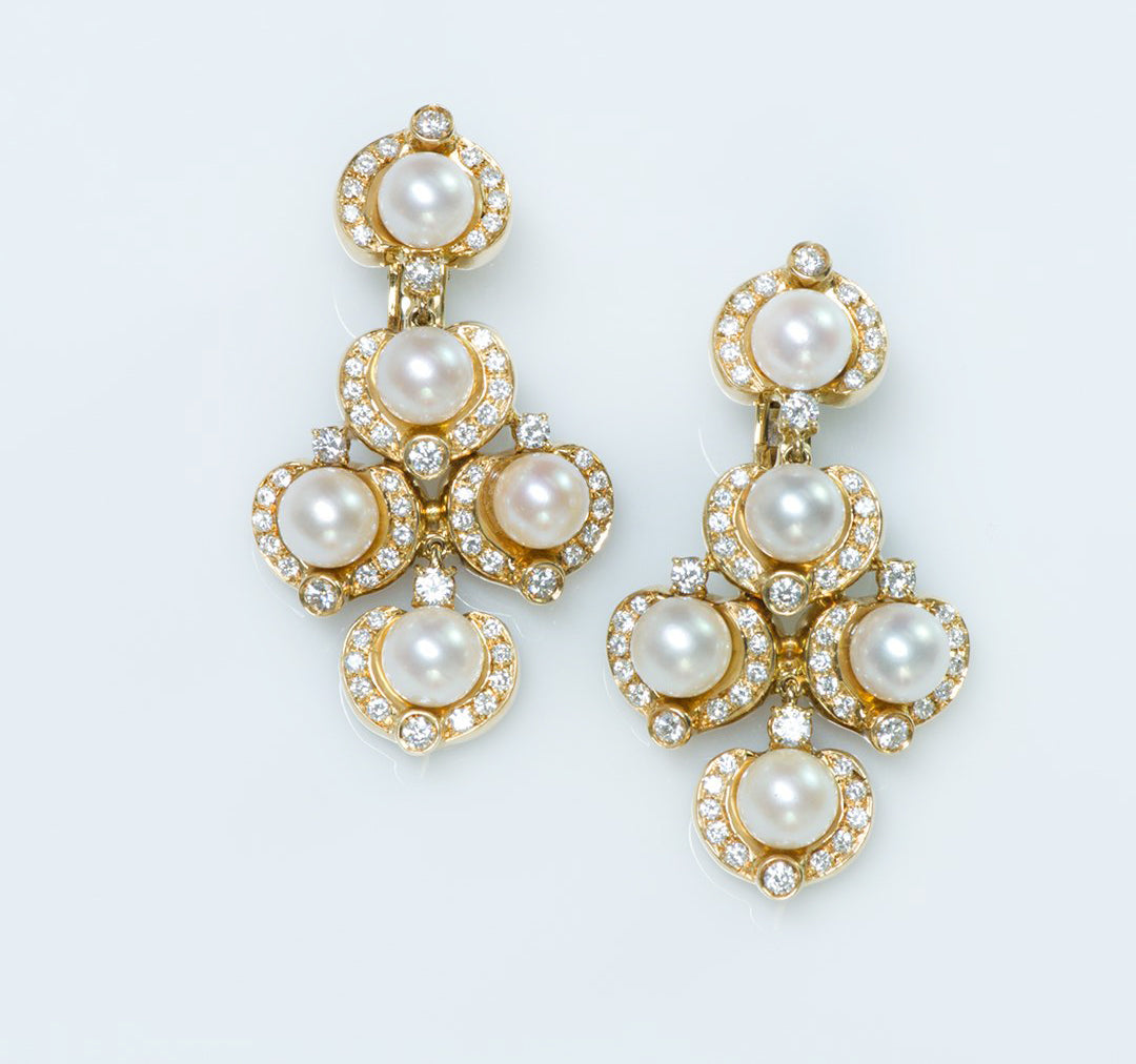 Chandeliers gold-pearl-and-diamond-earrings