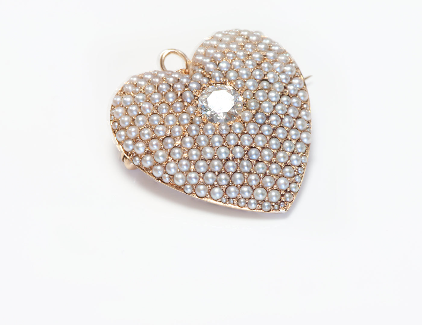 antique-gold-diamond-seed-pearl-heart-pendant-brooch
