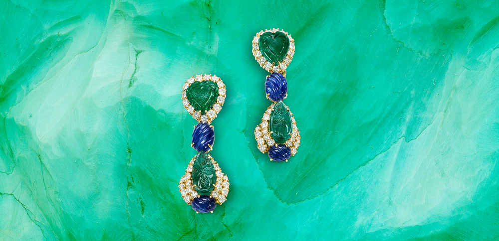 Sabbadini Emerald Sapphire Diamond Earrings