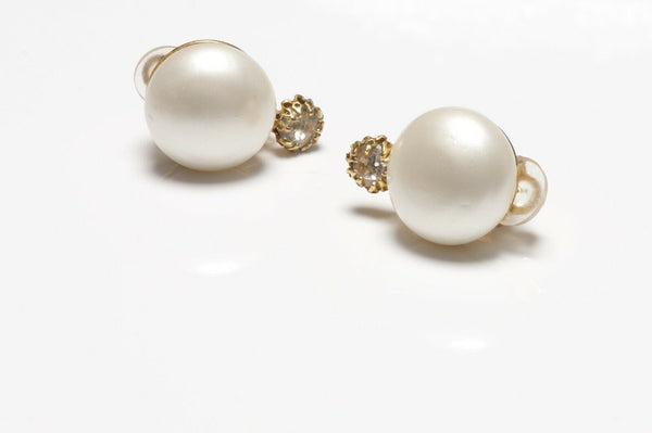 CHANEL Paris 1980's Gold Plated Pearl Crystal Earrings