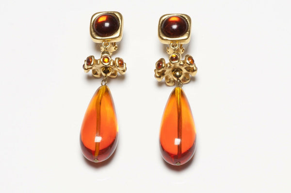 LANVIN Paris Faux Amber Brown Cabochon Lucite Drop Earrings