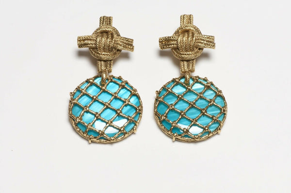 Yves Saint Laurent YSL Rive Gauche Long Turquoise Lucite Cross Earrings