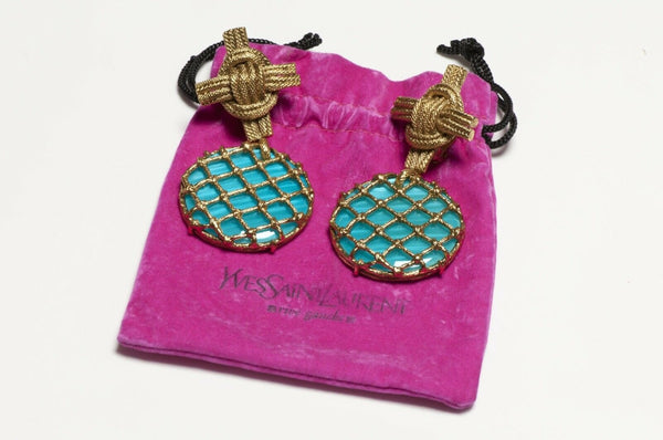 Yves Saint Laurent YSL Rive Gauche Long Turquoise Lucite Cross Woven Earrings