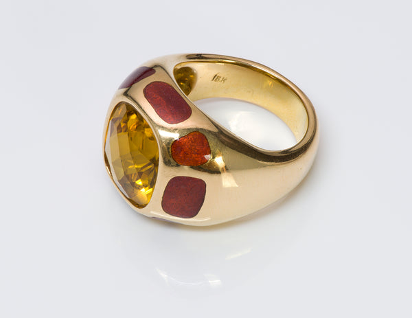 Citrine 18K Gold Enamel Ring  1