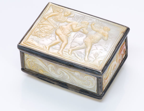 Antique 18th Century Carved Mother Pearl Silver Box