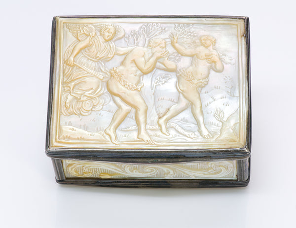 Antique 18th Century Mother of Pearl Silver Box