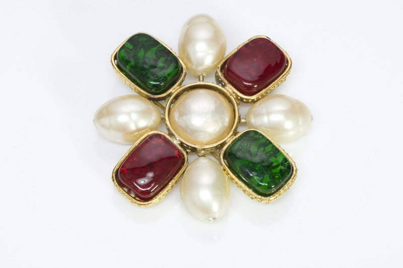 Chanel 1980's Byzantine Style Gripoix Glass Pearl Brooch1