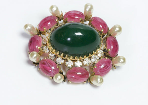 SCHREINER New York 1950's Green Pink Glass Crystal Pearl Brooch