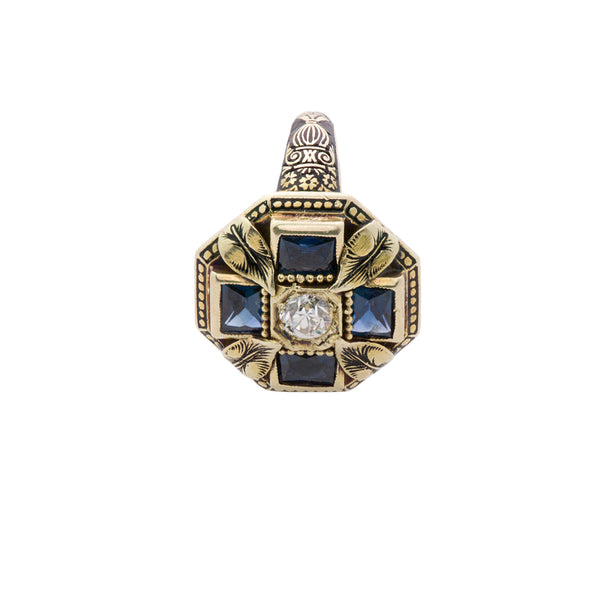 Art Deco Sapphire Diamond and Enamel Ring