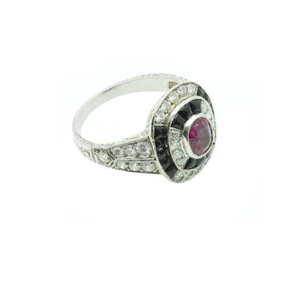 Art Deco Ruby Diamond Onyx Gold Ring