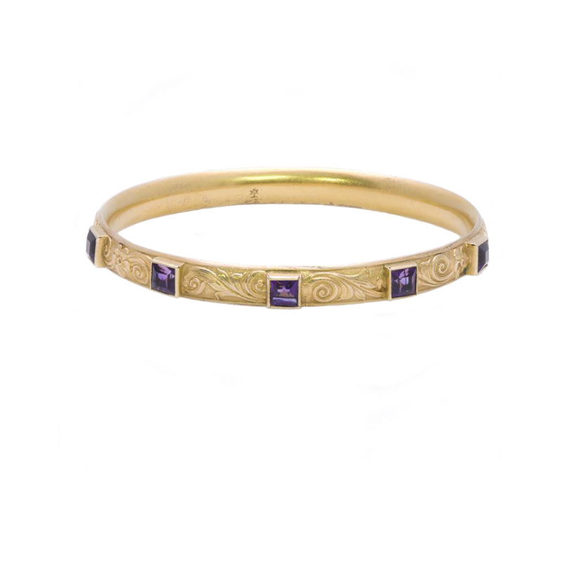 Art Nouveau Amethyst Gold Bangle