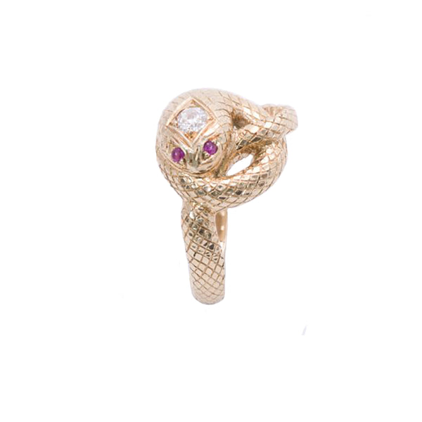 snake gold ruby diamond ring