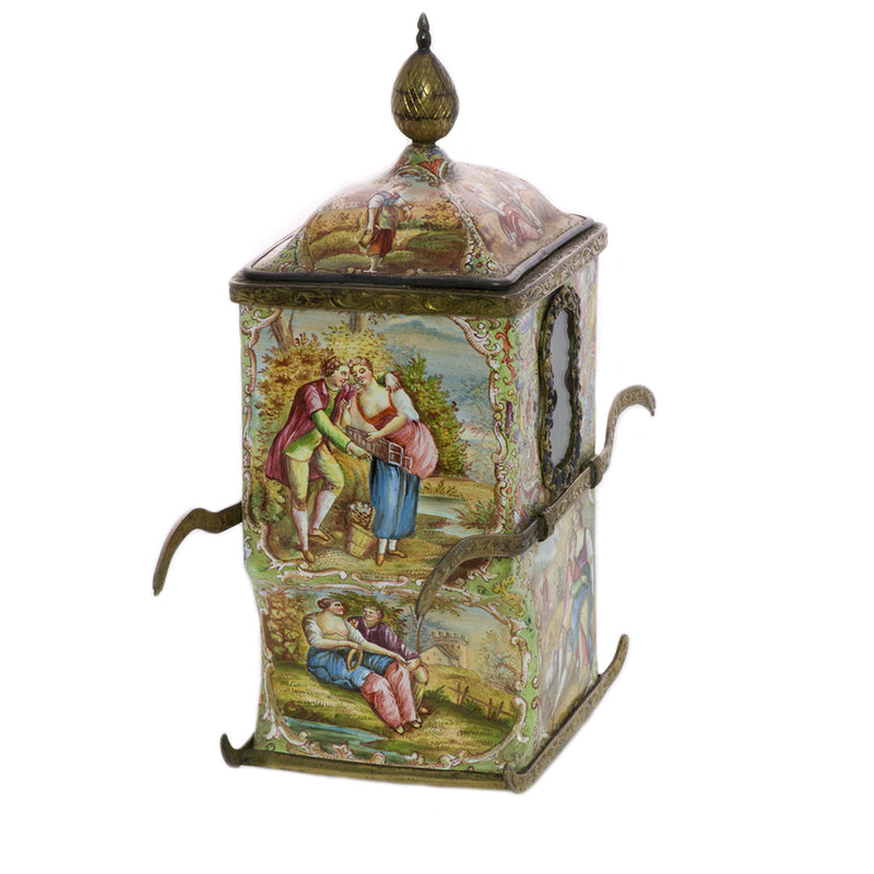 Viennese Enamel Antique Sedan Chair