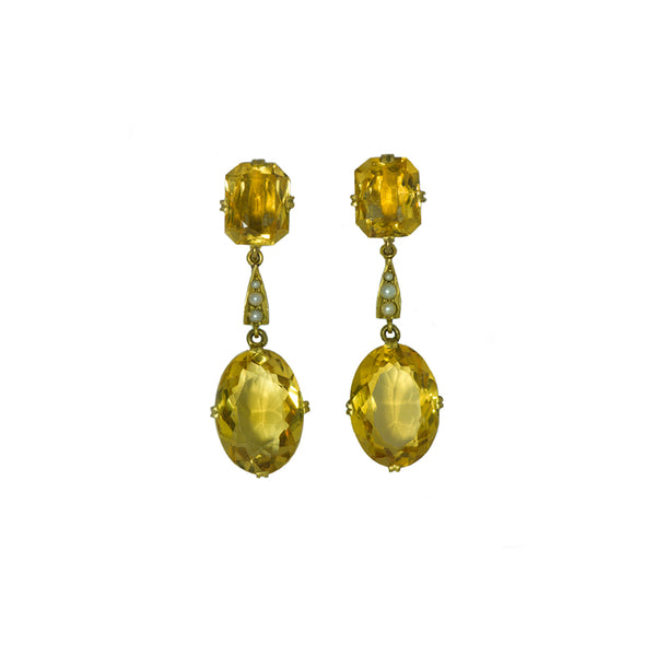 citrine gold pearl earrings