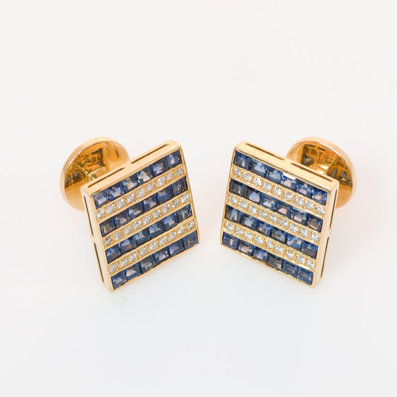 Gold Sapphire and Diamond Cufflinks