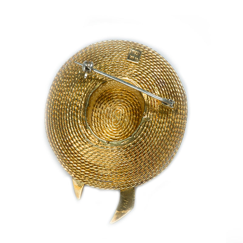 Gold and Enamel Hat Brooch