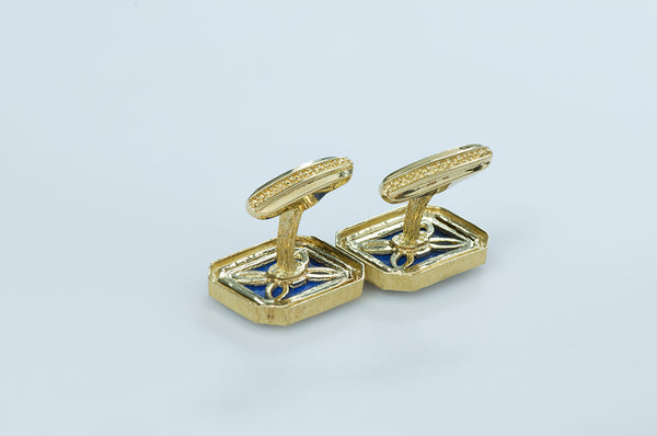 Gold and Lapis Cufflinks