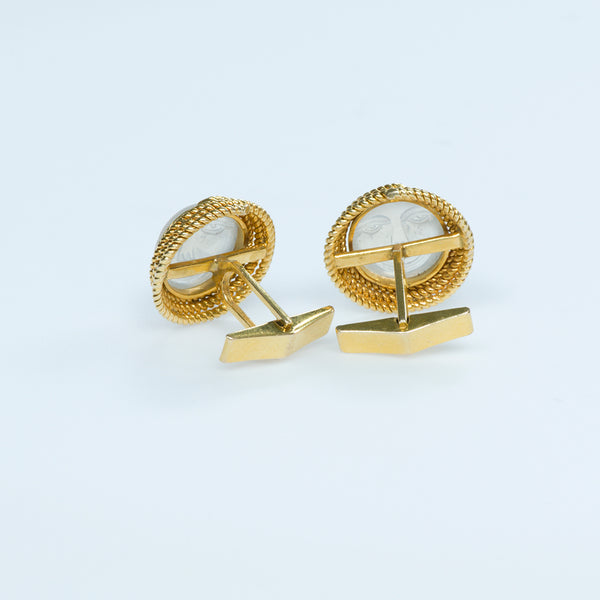 Gold and Carved Moonstone Cufflinks
