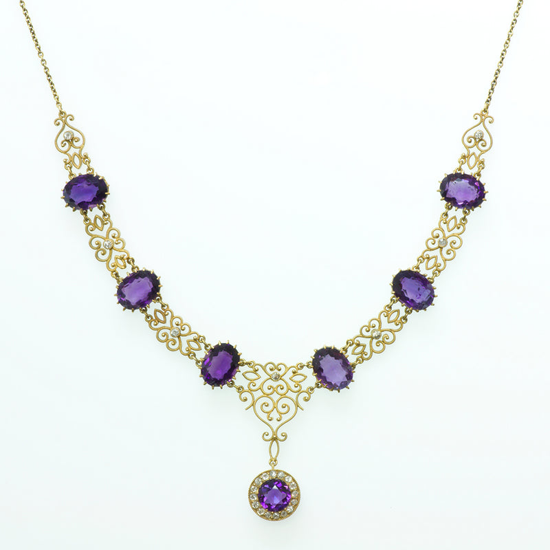 Antique Diamond Gold Filigree Necklace Amethyst