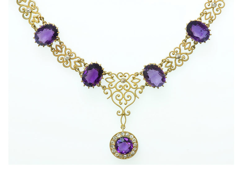 Antique Amethyst Diamond Gold Necklace