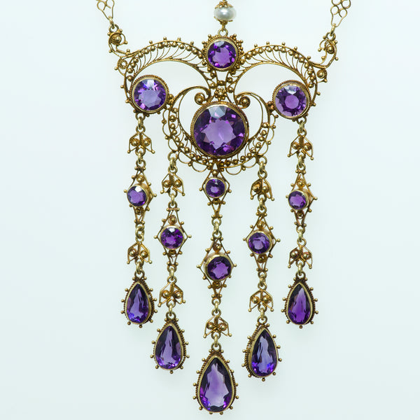 Antique Amethyst Filigree Gold Necklace