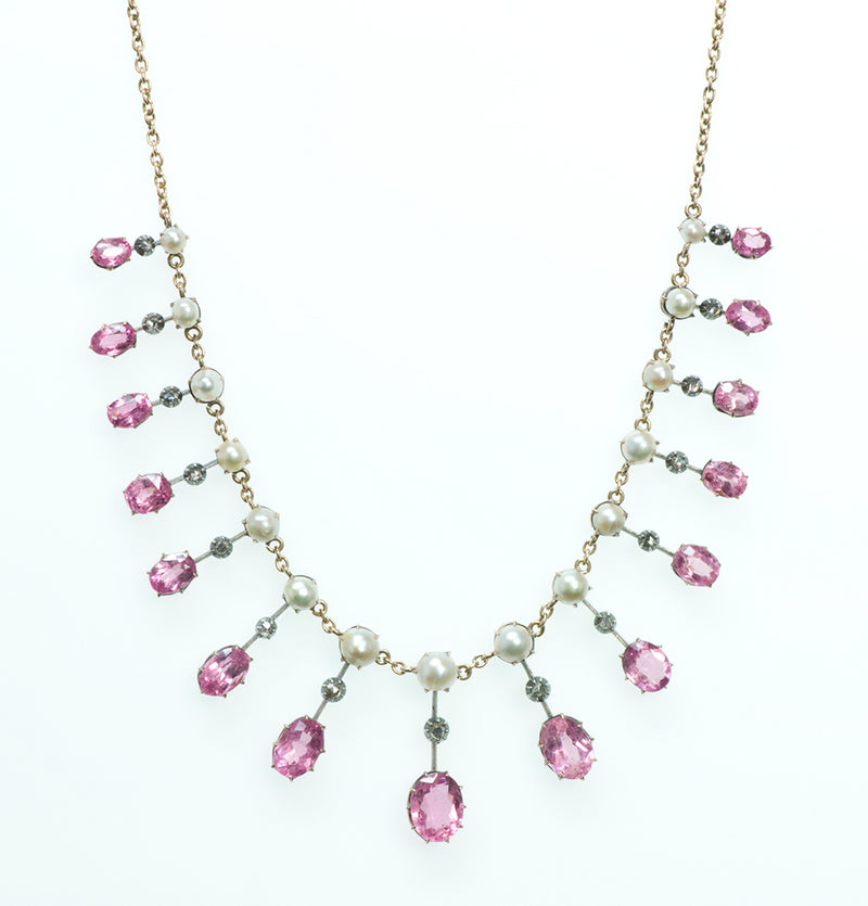 Antique Pink Tourmaline Pearl and Diamond Necklace