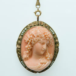 Antique Carved Coral Pearl Cameo Gold Necklace