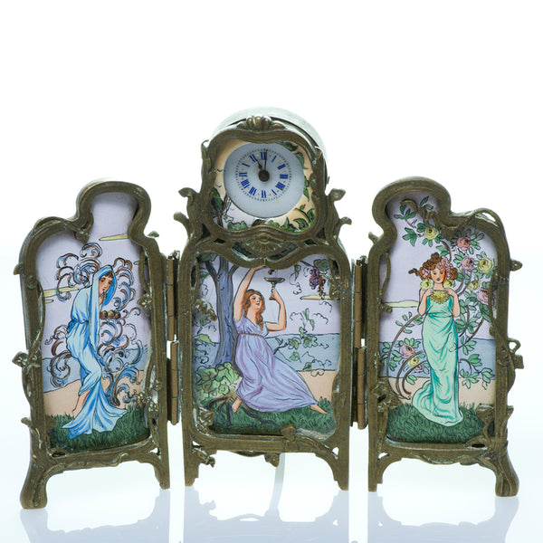 Art Nouveau Enamel Clock Screen