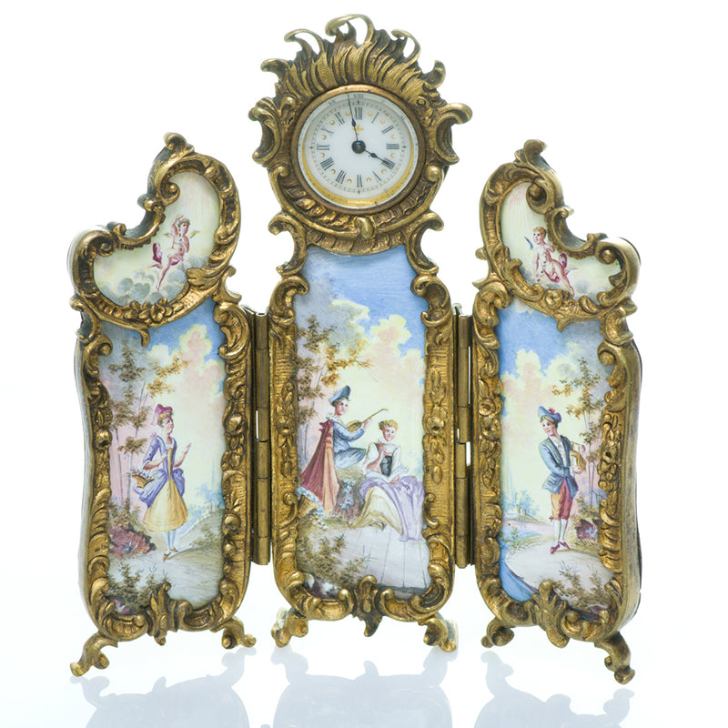 Antique Viennese Gilt Bronze Enamel Clock Table Screen